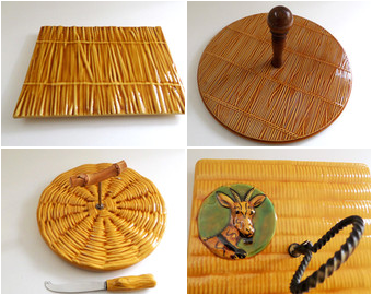 Go Pentyofamelie.com - French majolica glazed ceramic plates, Cute cheese platter, rattan straw, wicker pattern.