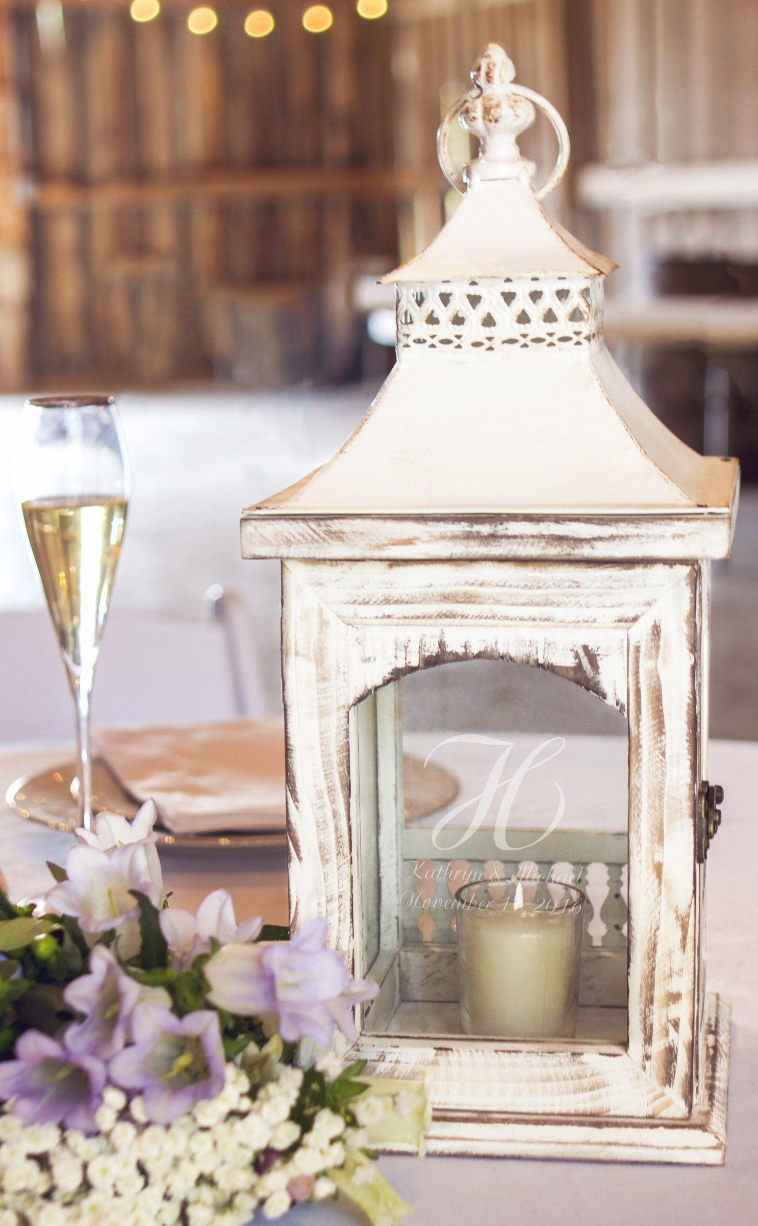 Personalized Rustic Whitewash Wedding Candle Lantern