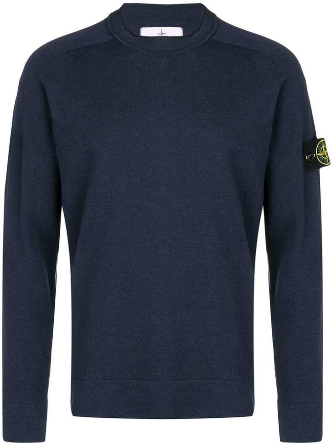 Stone Island Logo Patch Sweater Stone Island Sweaters Navy Sweaters