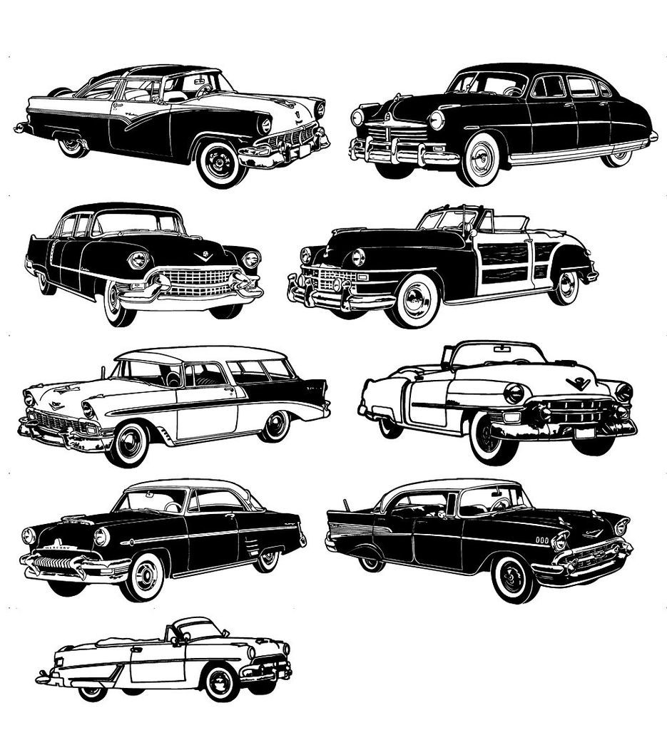 Classic Retro Car Vintage unmounted rubber stamps uncut sheet 7x9
