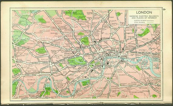 London Maps Pinterest City - London map 1945