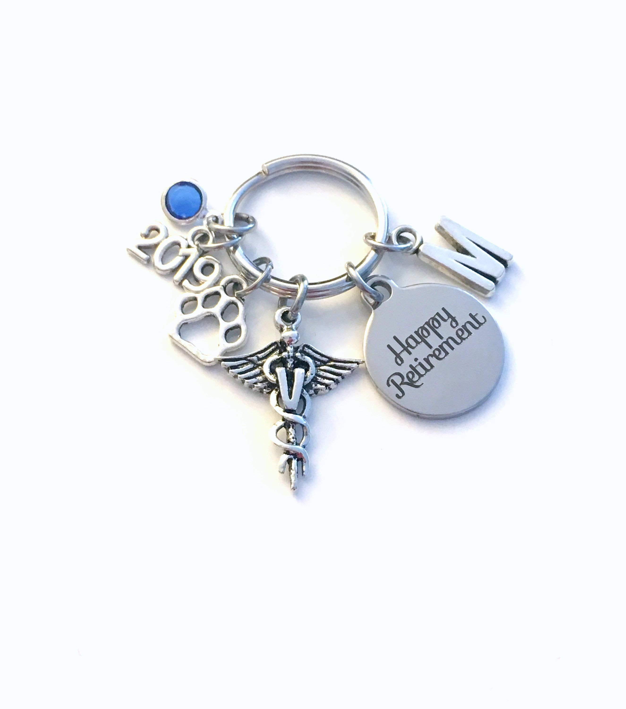 Retirement Gift for Vet Keychain 2019 Caduceus Medical Animal Doctor  Veterinarian Key chain Keyring Initial letter V women men him her pet by ... d93eaf5f0a