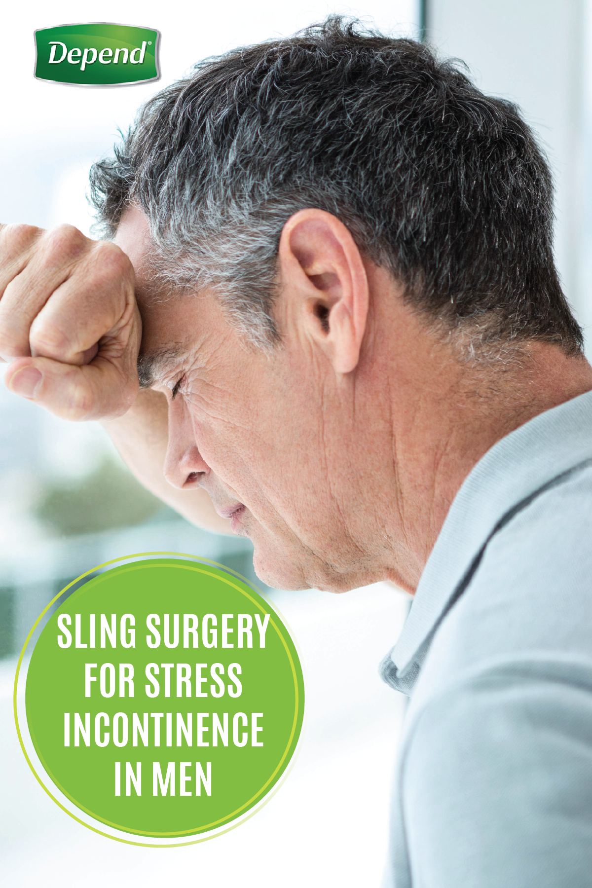 If you experience a bladder leak when you cough, sneeze, or even exercise you may be suffering from a common condition called Stress Urinary Incontinence. See how men suffering from SUI can benefit from sling surgery with this helpful advice from Depend®. When you've got the right information and the protection of Depend® Real Fit® Briefs on your side, you can get back to the active life you've been missing!