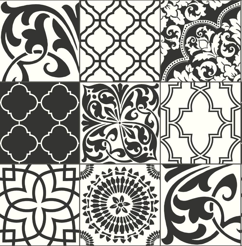Graphic Tile Peel And Stick Wallpaper In Black And White By Nextwall Graphic Tiles Peel And Stick Wallpaper Black And White Wallpaper