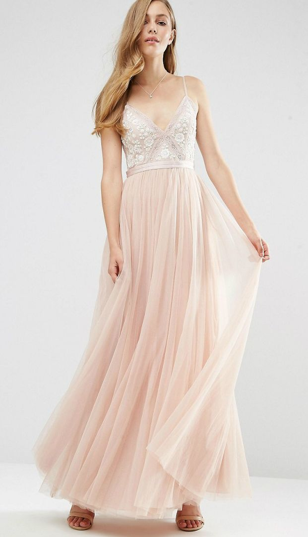 Blush and ecru maxi dress with embroidered top and tulle skirt ...