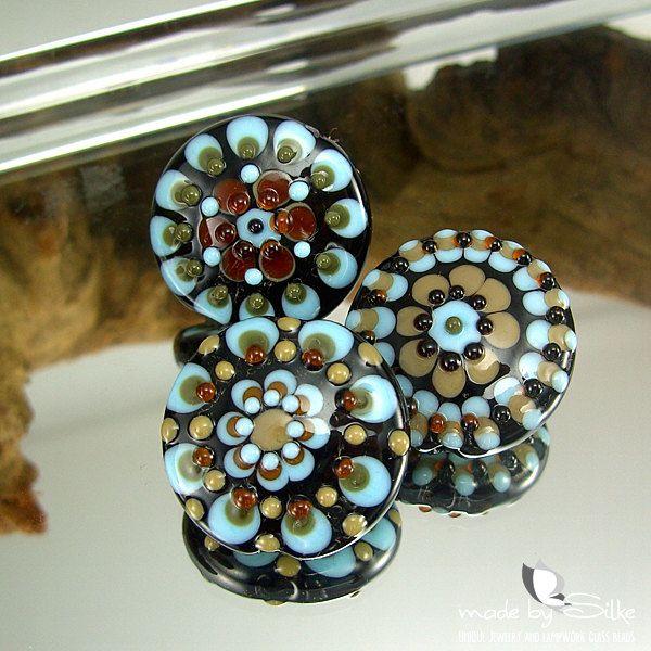 3 handmade lampwork beads --  M a n  D o r a s  -- SRA -- lentils glass set -- Calypsos Beads -- made by Silke Buechler