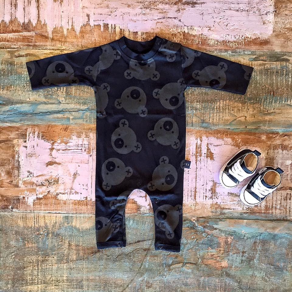 Huxbaby organic falling bears romper & Converse baby Chucks, shop these…