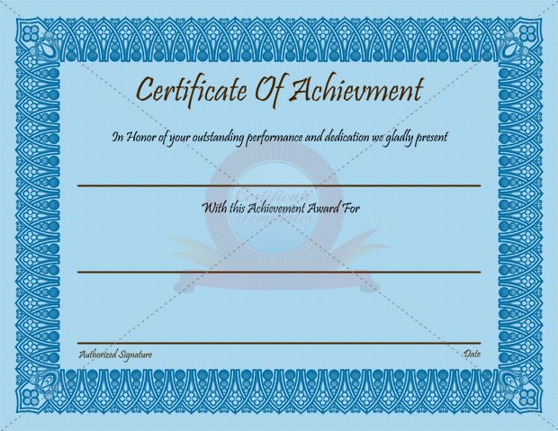 Achievement-Certificate-thumb3_2 Certificate Template - Free Customizable Printable Certificates Of Achievement