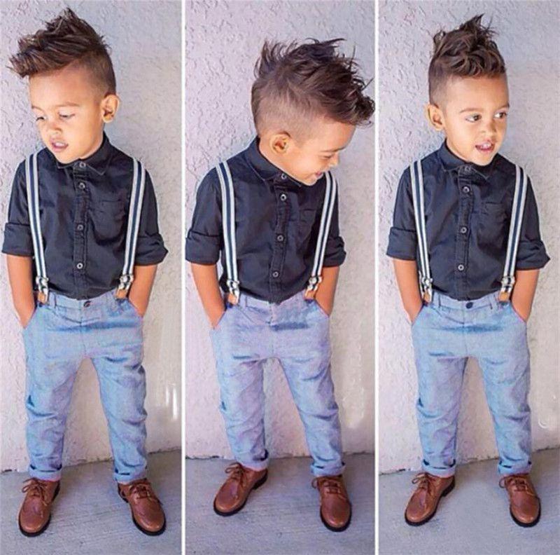 2015 Summer Baby Boys Clothes Gentleman Black Blouse+Bib Jeans ...