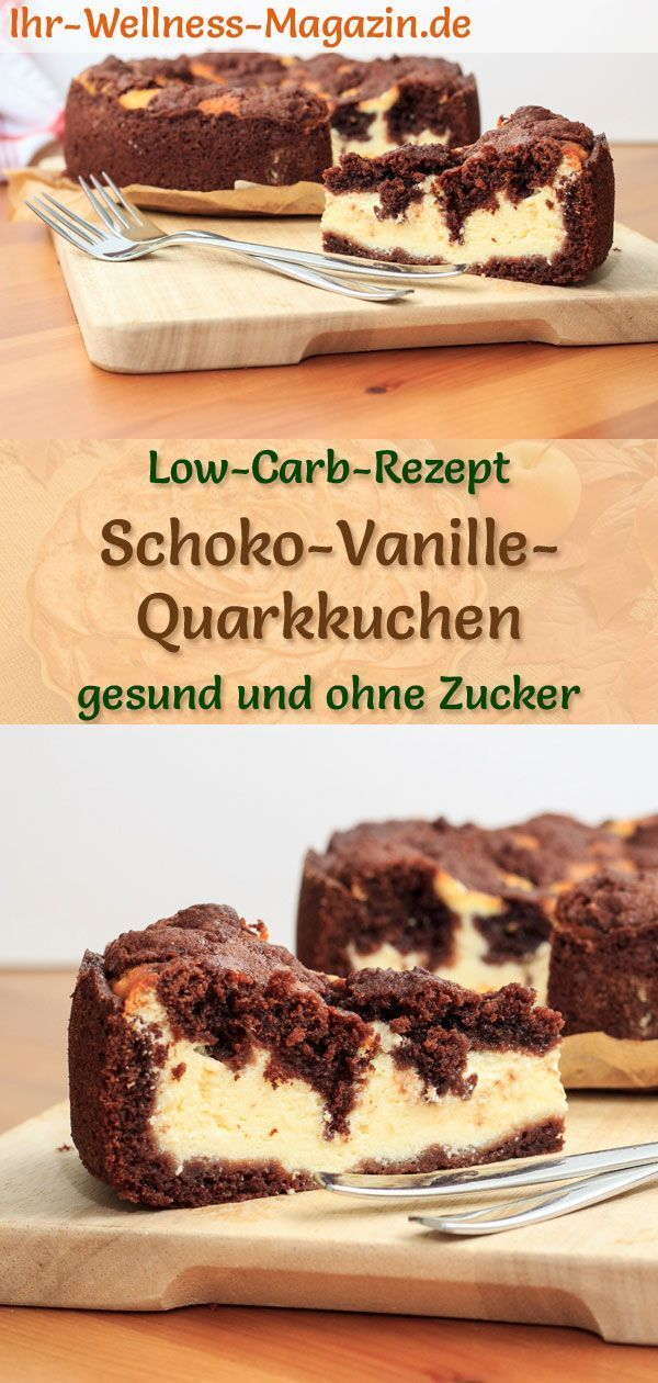 Juicy low carb chocolate-vanilla quark cake - recipe without sugar - Creamy chocolate-vanilla quar