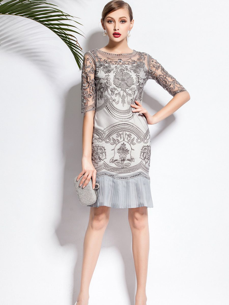 Gray floral half sleeve pleated two piece midi dress for White dresses for wedding guests