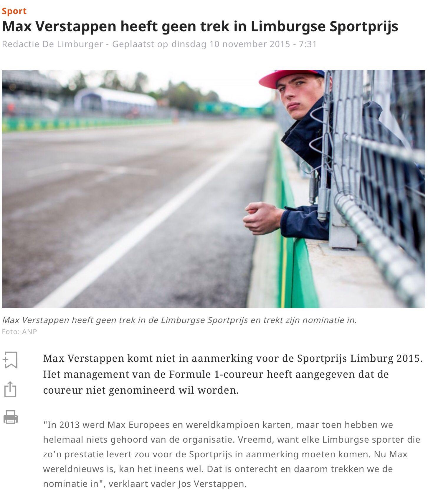 Max heeft geen trek in Limburgse Sportprijs