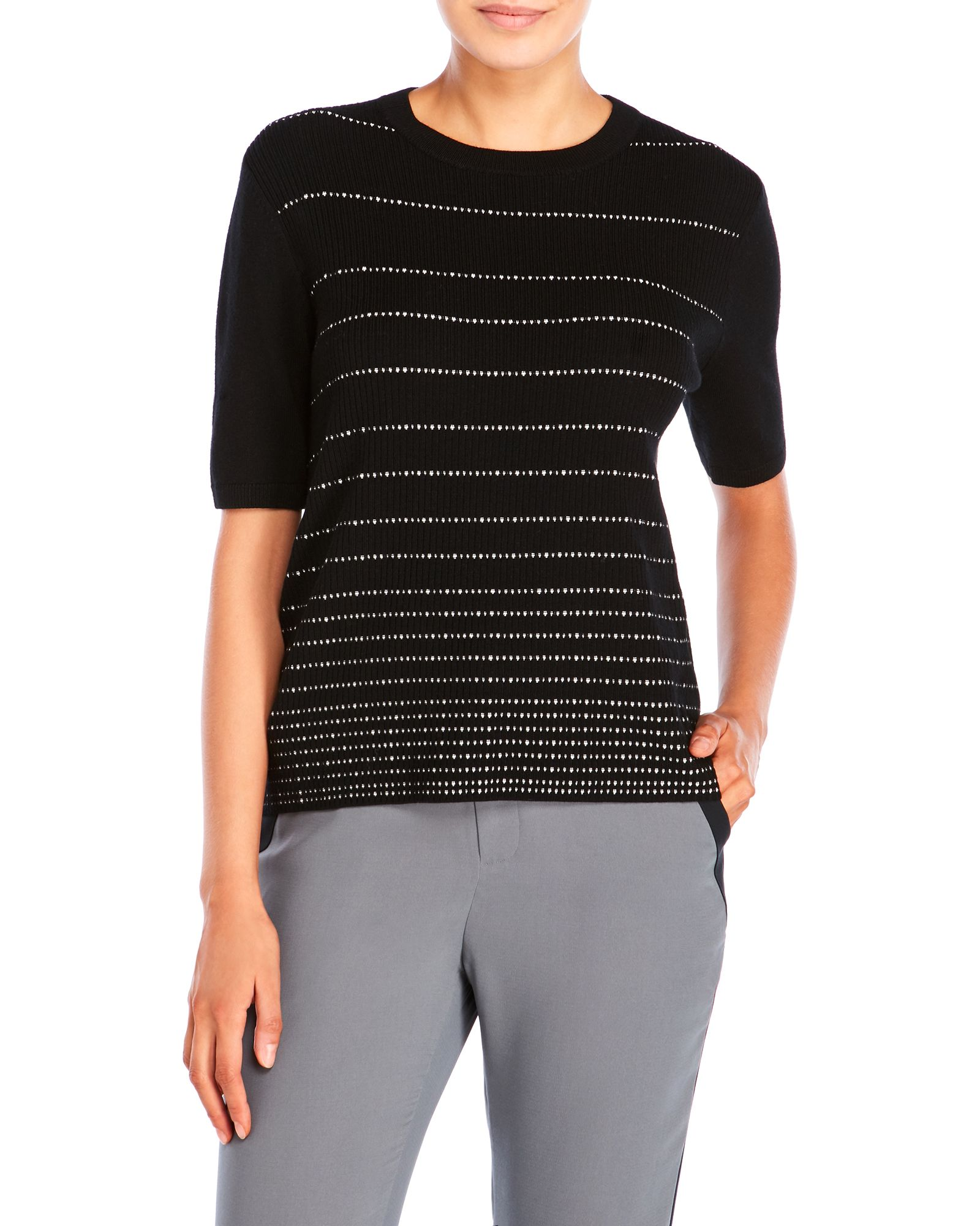 Raoul Striped Wool-Blend Tee