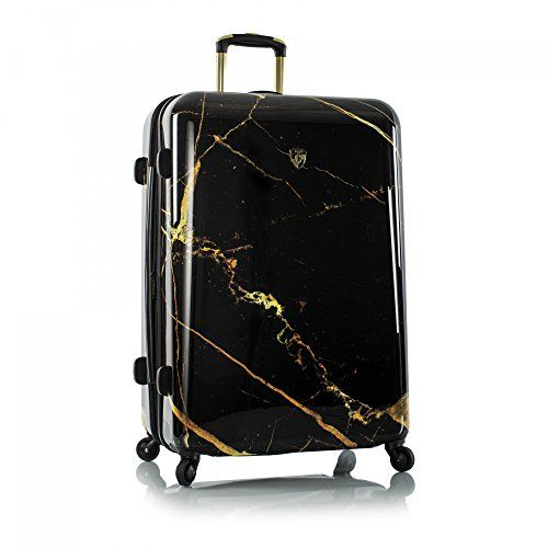 22403b6a9479 I LOVE MARBLE!! This black and gold marble suitcase gives me so much ...