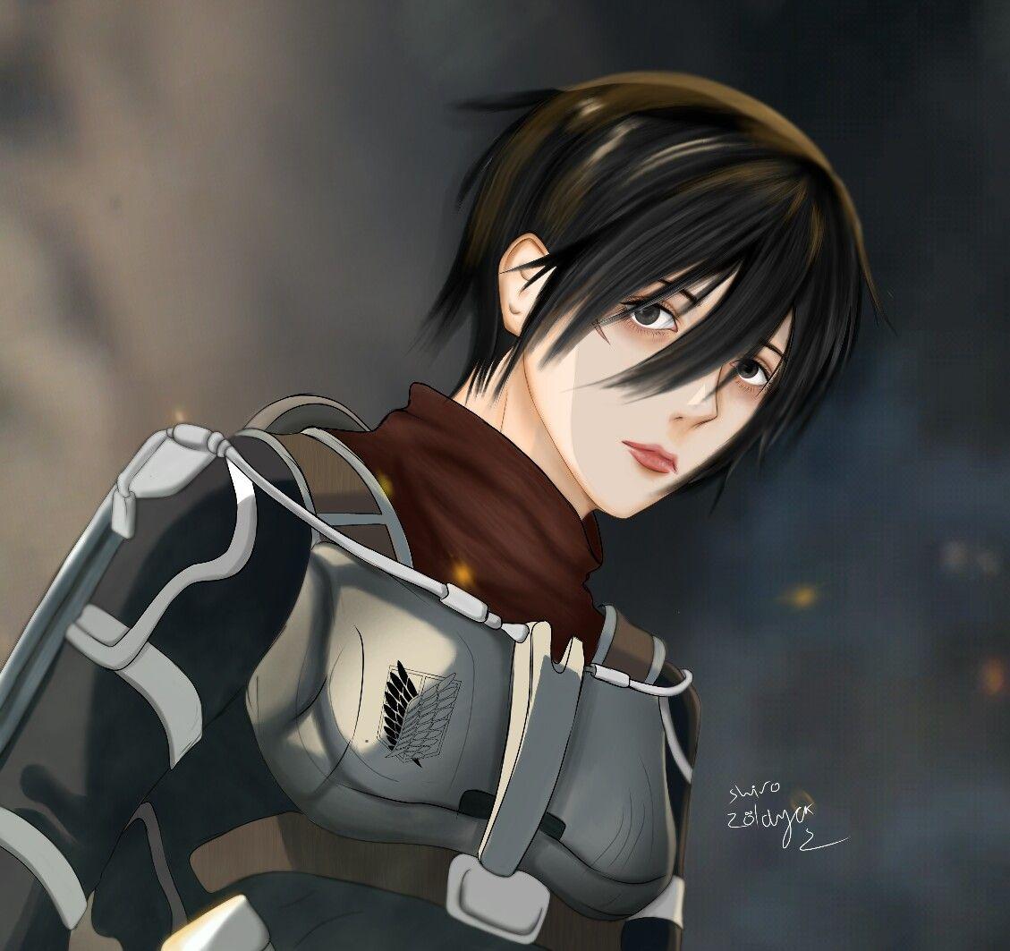 Digital Art Of Mikasa Ackerman From Attack On Titan Season 4 Trailer In 2020 Mikasa Attack On Titan Season Attack On Titan