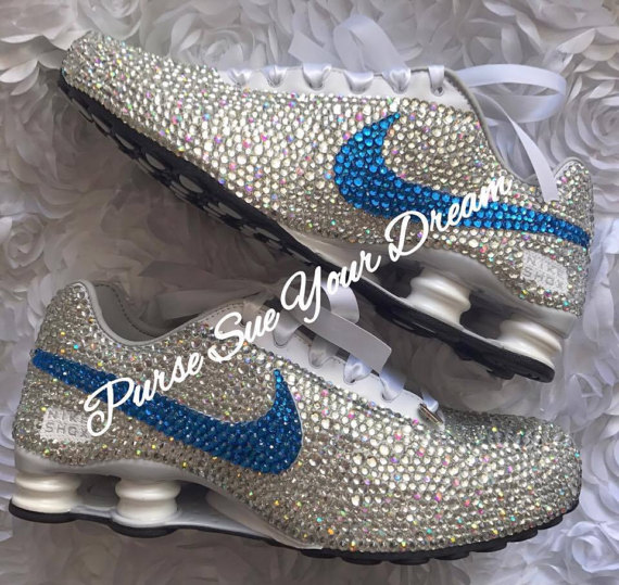 Crystal Rhinestone Nike Shox Designed Shoes by PurseSueYourDream nike shoes,  nike shox shoes, swarovski crystals, swarovski shoes, swarovski nikes, ...