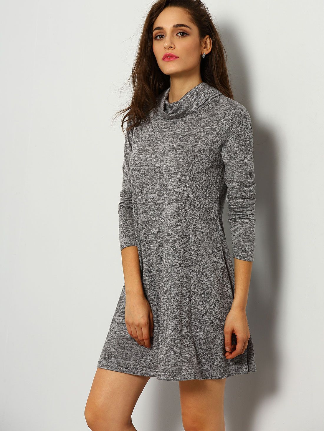 Fabric :Fabric has some stretch Season :Fall Type :Dress Pattern Type :Plain Color :Grey Dresses Length :Short Style :Basic Material :Jersey Neckline :High Neck Silhouette :Shift Bust(cm) :XS:87cm,S:9