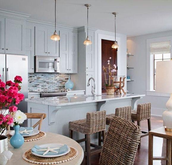 azules gabinetes de la cocina contador taburetes altura | DECORACIÓN ...