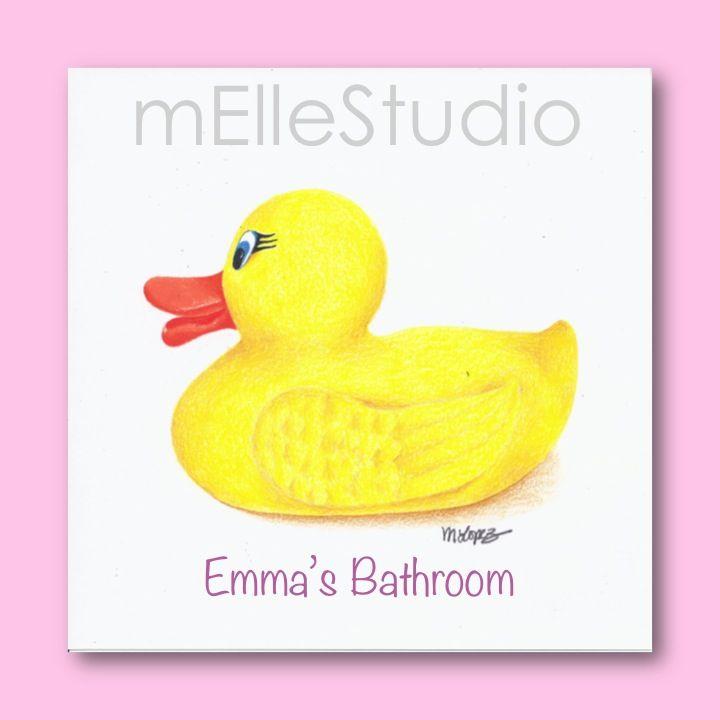 Girls Bathroom Art, Personalized Kids Art, Rubber Ducky Art ...