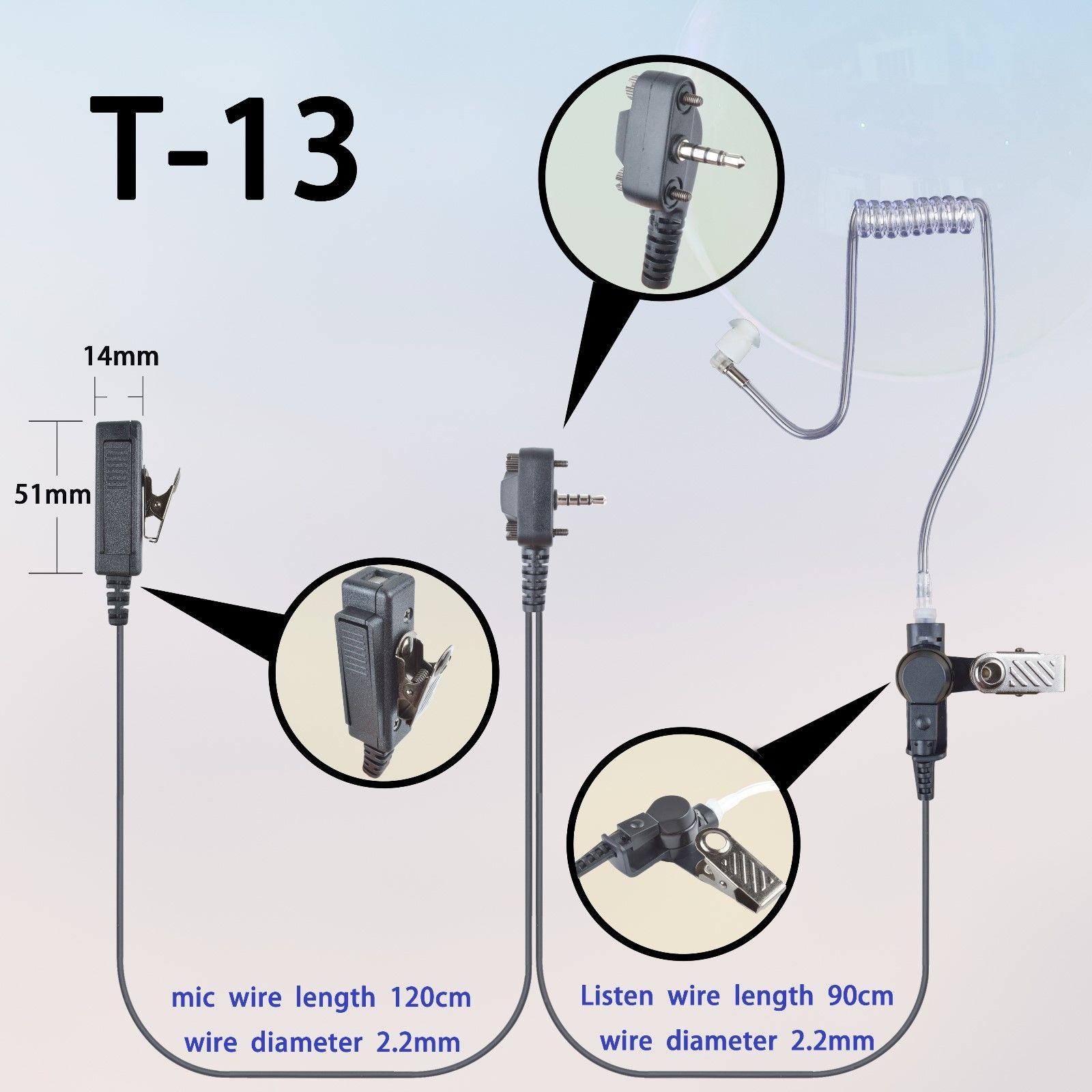 2-wire Surveillance Earpiece mic For Vertex Standard VX168 VX261 Portable Radio