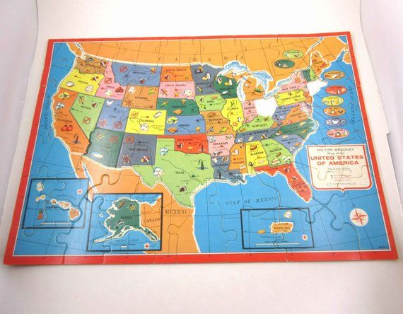 Vintage 1960s Authentic Wooden Map Puzzle of the United ...