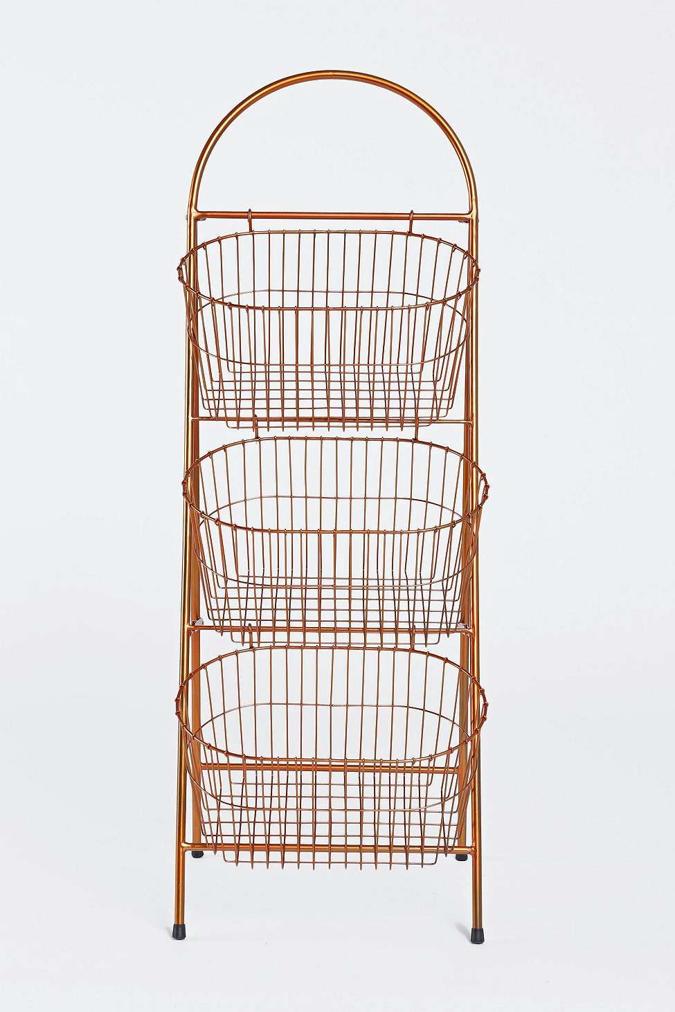 Three Tier Copper Basket Shelf Basket Shelves Copper Bathroom And Shelves