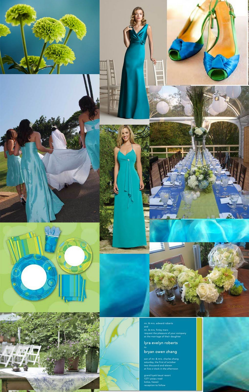 Wall Colour Inspiration: Blue Green Turquoise Wedding #Inspiration #details