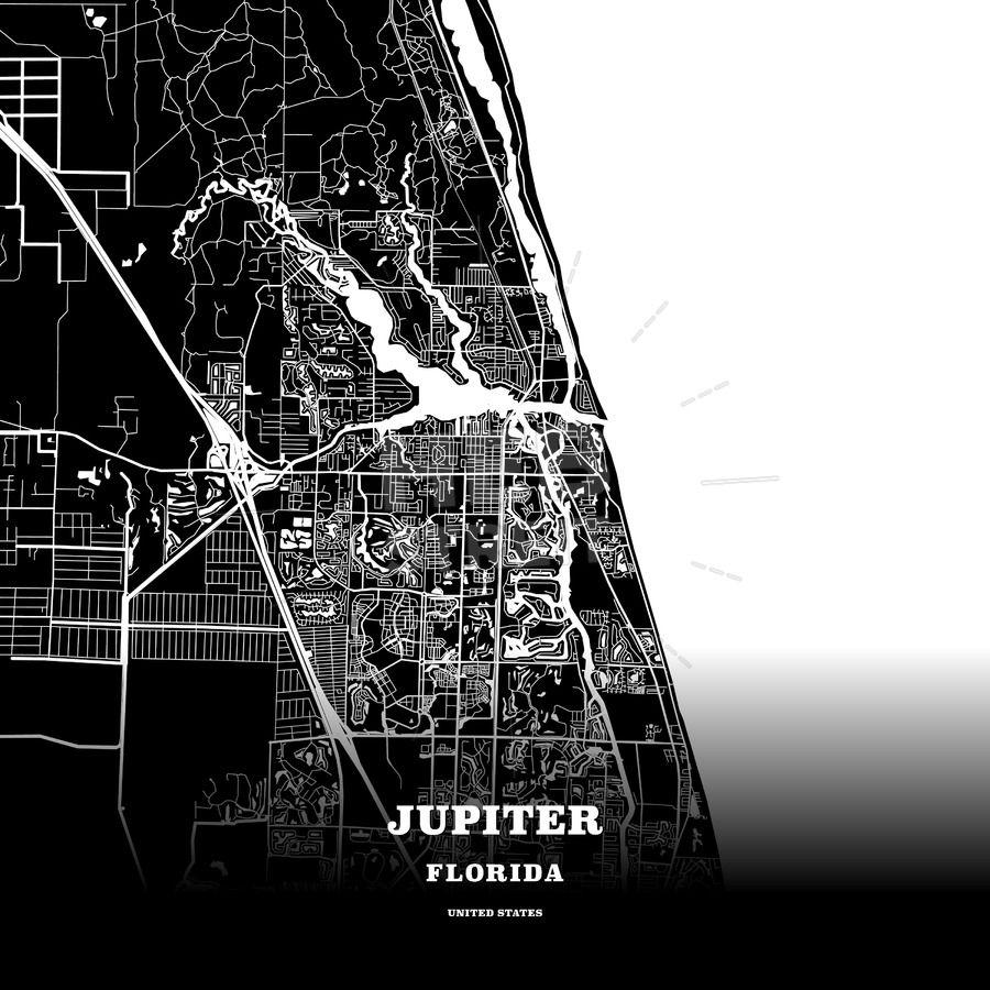 Jupiter Florida Map.Black Map Poster Template Of Jupiter Florida Usa Maps Vector