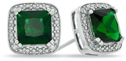 6ed73407343dd 7.0mm Princess-Cut Lab-Created Emerald and Diamond Accent Stud ...