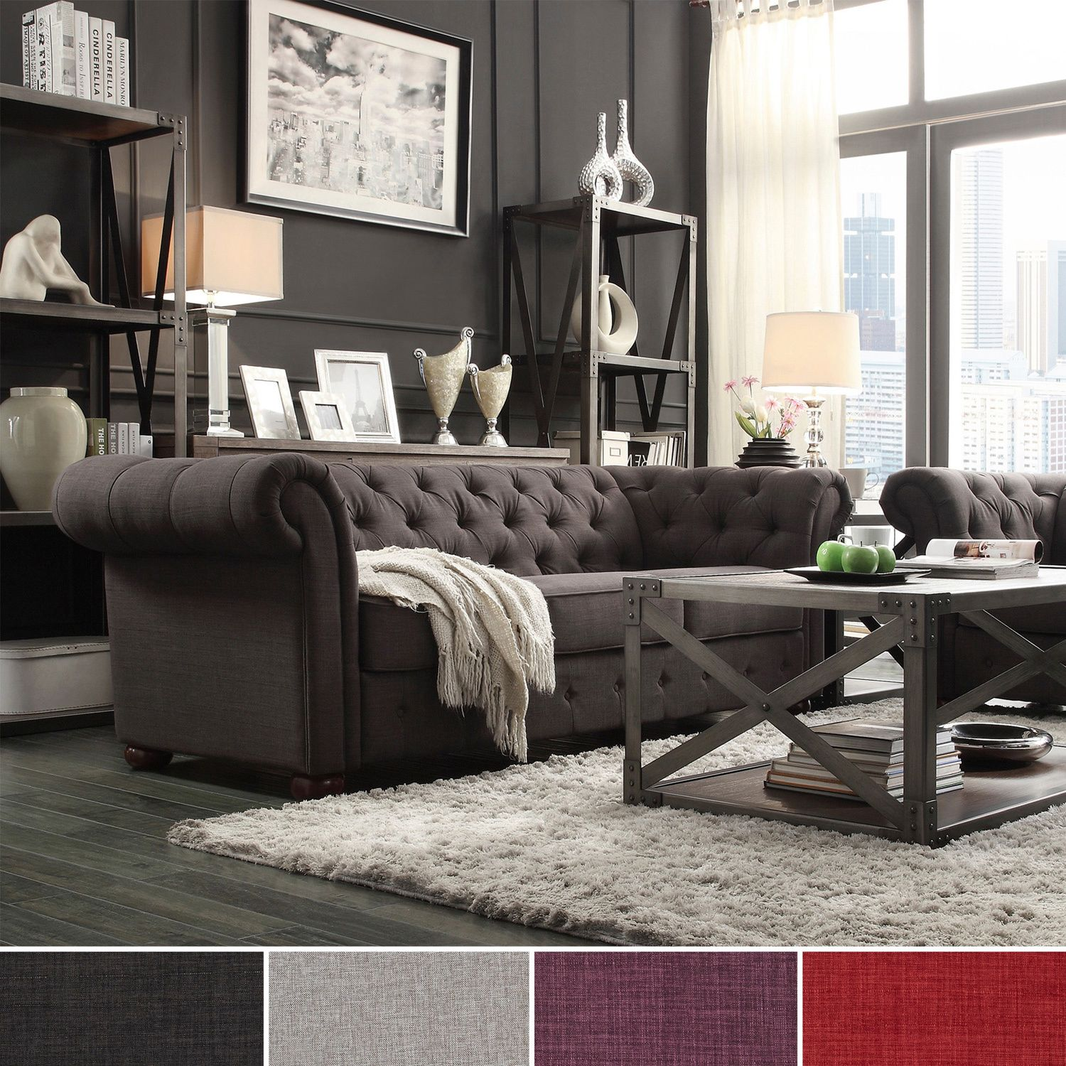 In Red Add Graceful Seating To You Home With This Chesterfield Sofa By Tribecca Home