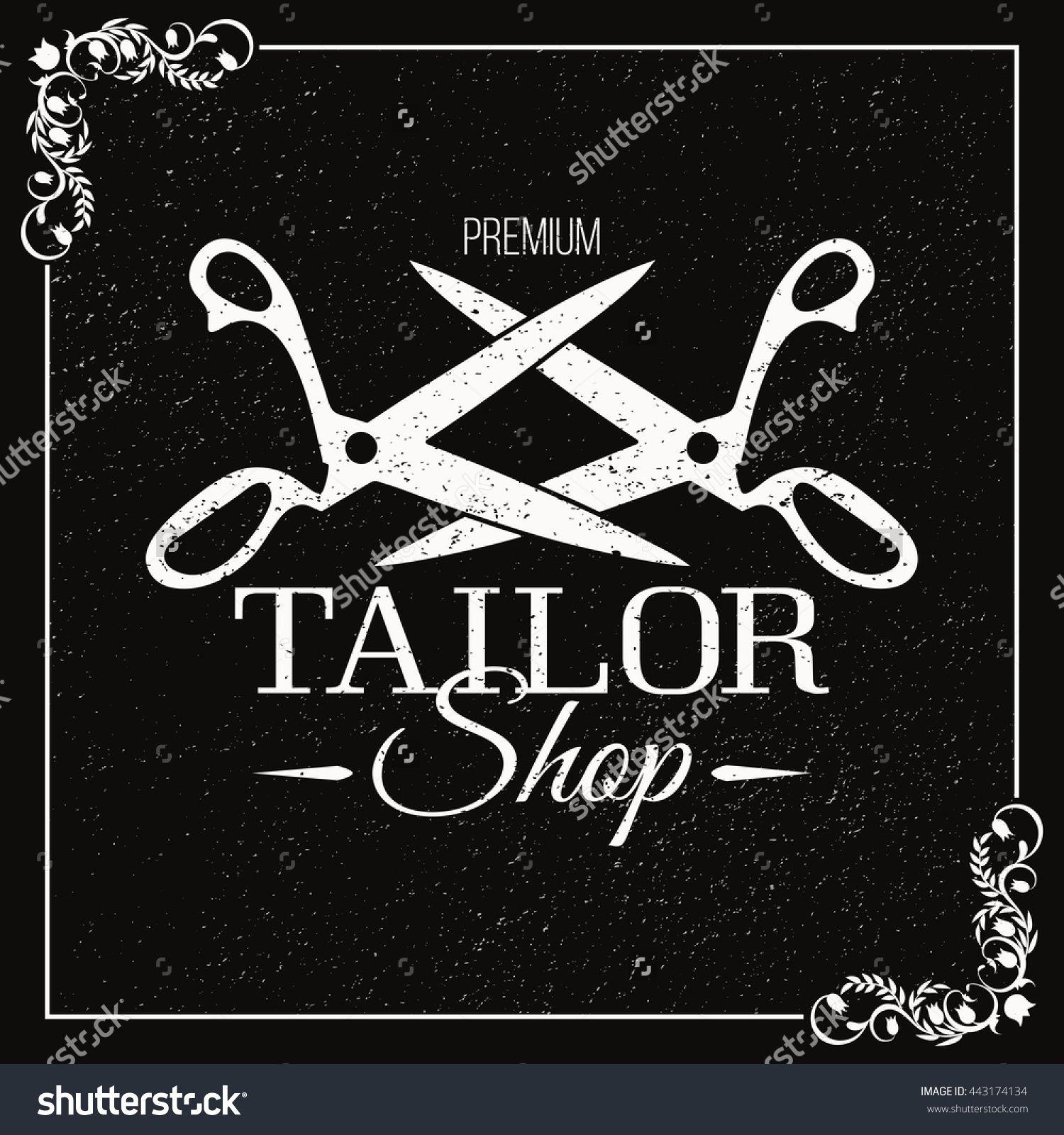 Dressmaker Scissors Banner. Chalk Board. Black And White With A Grunge Texture. Sewing Accessories. Tailor Shop. Стоковая векторная иллюстрация 443174134 : Shutterstock