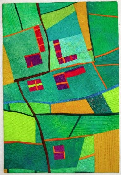 The Fields Beneath # 3 map art quilt by Alicia Merrett