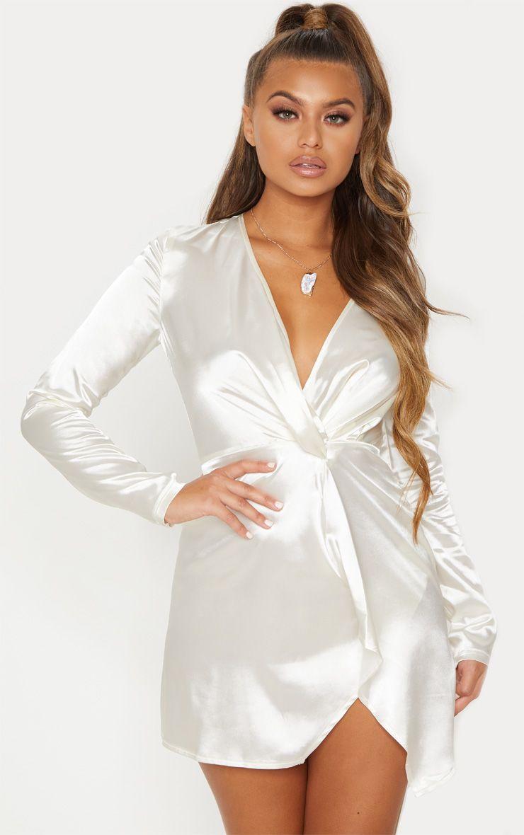 White Twist Front Plunge Long Sleeve Bodycon Dress [ 1180 x 740 Pixel ]