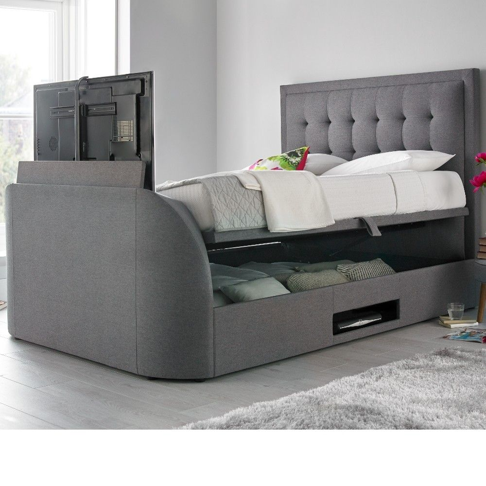 King Size Tv Bed Metro Grey Fabric Ottoman Tv Bed 5ft King Size Bed Pinterest