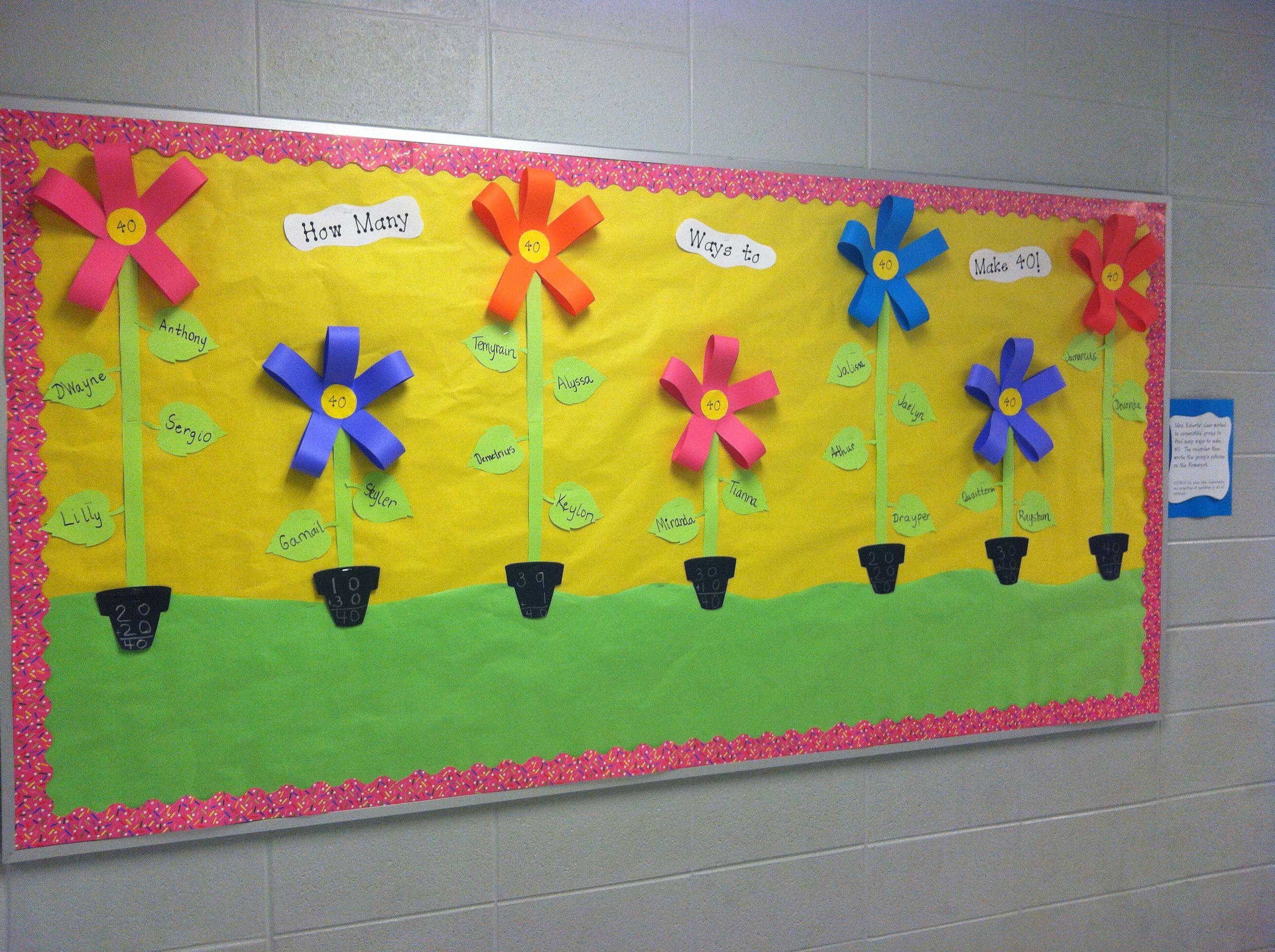 Spring Flower Math Bulletin Board Math Bulletin Boards Flower Math Creative Math