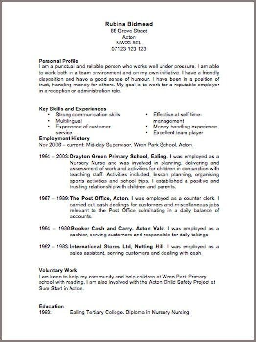 Help with a cv examples