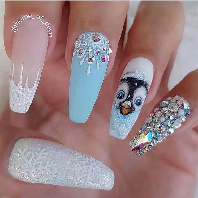 christmas nails acrylic, christmas nails 2019, winter nail