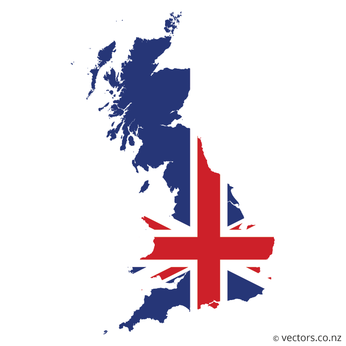 Uk Flag Vector Map Of Great Britain Map Of Great Britain Flag Vector Uk Flag