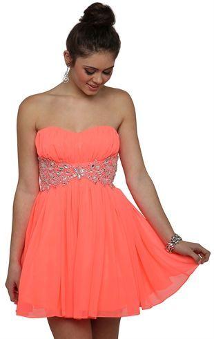 Deb Shops Neon Coral Short Prom Dress 6000 Frolic Pinterest