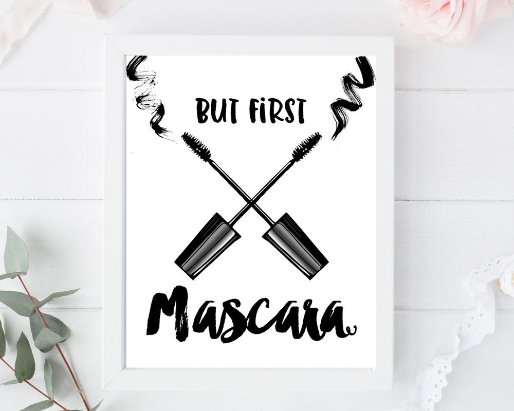 But first mascara, print, bathroom, bedroom, makeup wall ...