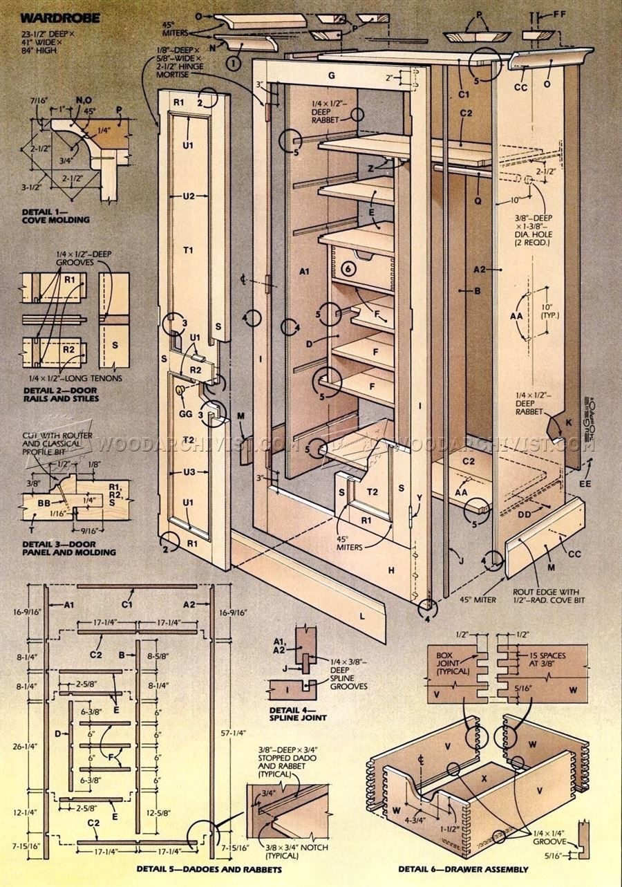 Woodworking Projects Plans: #2734 Wardrobe Plans - Furniture Plans