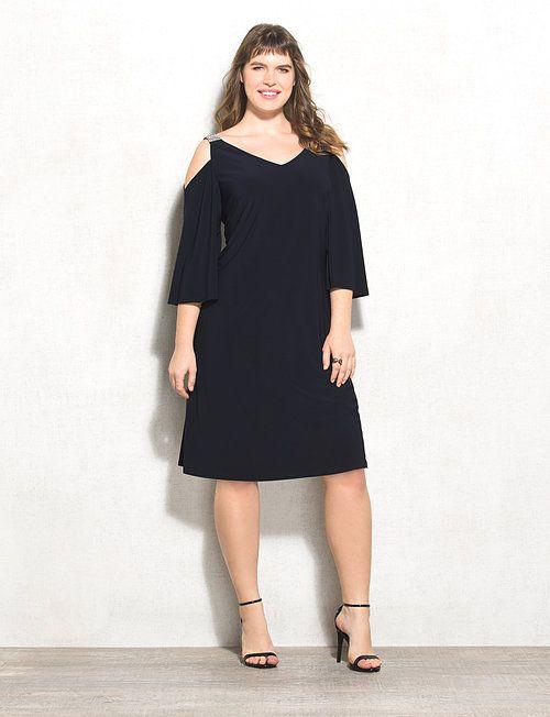 7578a9d3ddb Plus Size Embellished Mesh Cold-Shoulder Dress