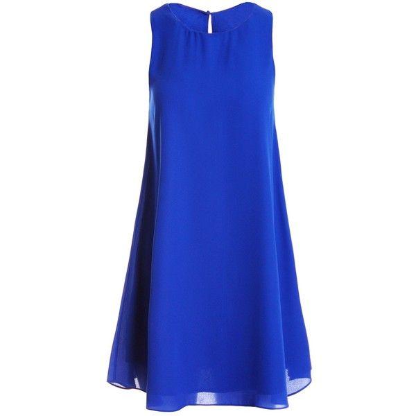 Sans Souci Royal sleeveless chiffon shift dress (435 ARS) ❤ liked on Polyvore featuring dresses, royal, blue shift dress, keyhole dress, sleeveless dress, blue keyhole dress and sans souci