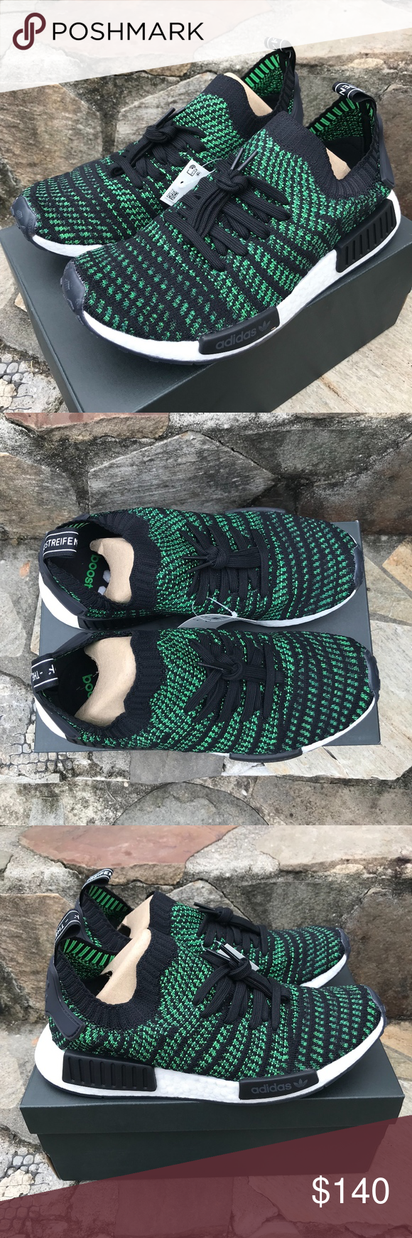 f31ddd18a Adidas Green NMD R1 STLT PK Sz 9 Black and green Size Men s 9 Slip on comfy  sneakers Running shoes NIB OFFERS AND BUNDLES WELCOMED! adidas Shoes  Sneakers