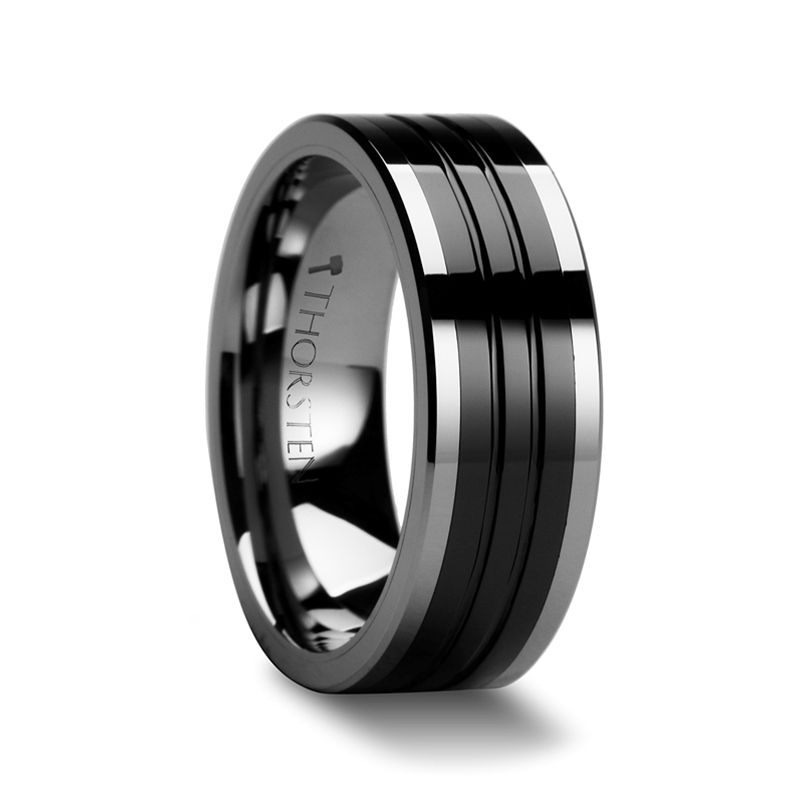 Edinburgh Tungsten Ring With Flat Grooved Black Ceramic Inlay 6mm 10mm Black Tungsten Rings Tungsten Wedding Bands Titanium Wedding Rings