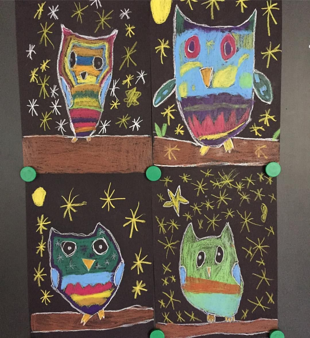 Owls At Night You Just Need Black Paper And Crayons To