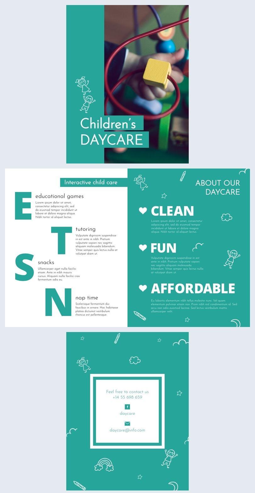 Children Daycare Brochure Template in 2020 Brochure