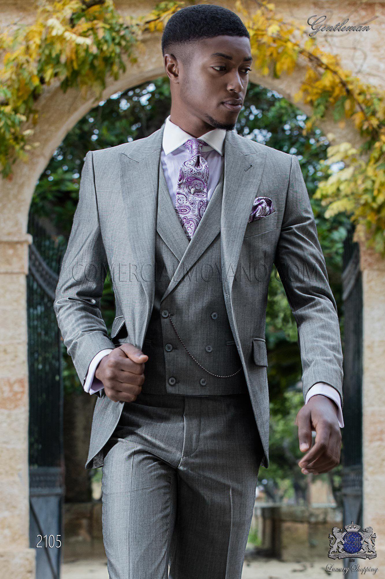 Traje italiano a medida gris claro mixto lana mohair alpaca. Traje de novio  2105 Colección d17d9719e379