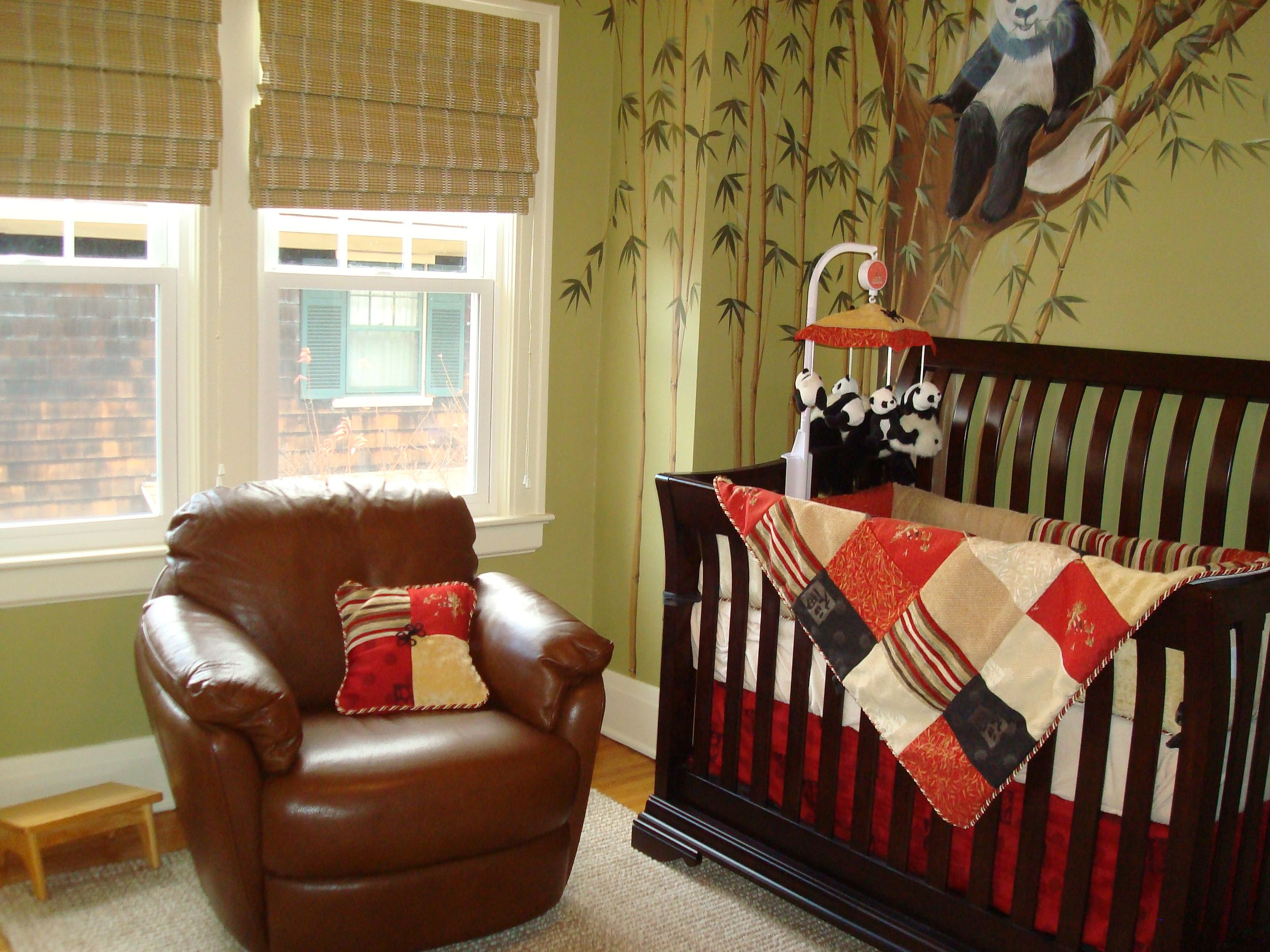 Asian Panda Bear Themed Nursery Hand Painted Bears And Bamboo Grace This Sophisticated Rich Wood Tones Reds Soft Greens Make