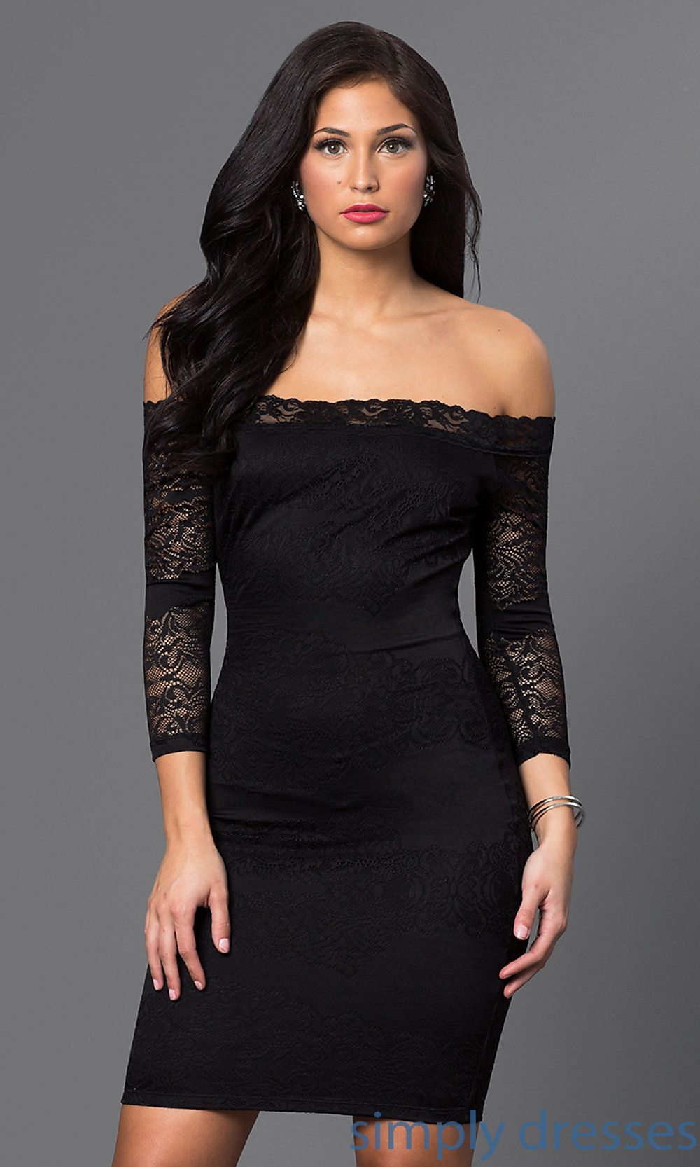 Short Off Shoulder Three Quarter Sleeve Lace Dress Long Sleeve Cocktail Dress Dresses Lace Dress With Sleeves